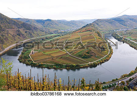 "Pictures of ""Moselle River loop in autumn, view from Calmont Bremm."