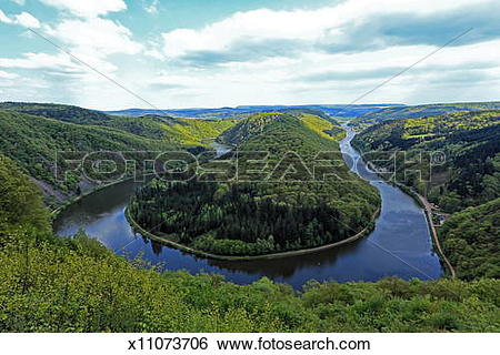Stock Images of Loop of River Saar, Mettlach, Germany x11073706.