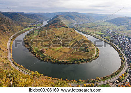 "Stock Photograph of ""Moselle River loop in autumn, view from."