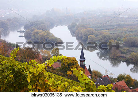"Stock Image of ""Main River Loop at Volkach in autumn, Ortsteil."