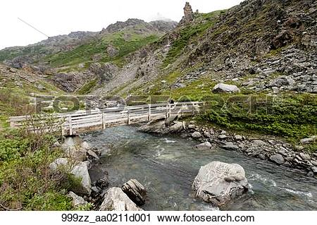 Stock Photography of Hiker crosses bridge over Savage River along.