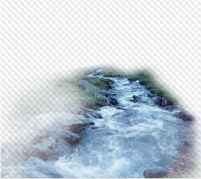 PSD, PNG, Mountain River on transparent background.