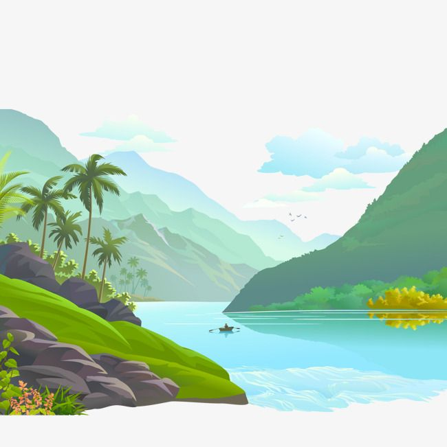 Small Rivers And Rivers Scenery, Vector Illustration, Valley.