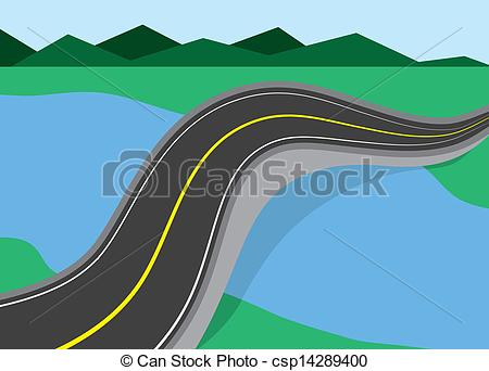 Vector Clipart of Road Over River.