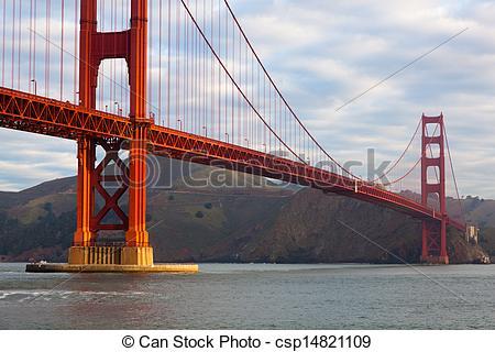 Stock Illustration of Golden Gate Bridge in San Francisco.