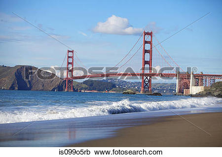 Stock Photography of Golden Gate Bridge and San Francisco Bay.