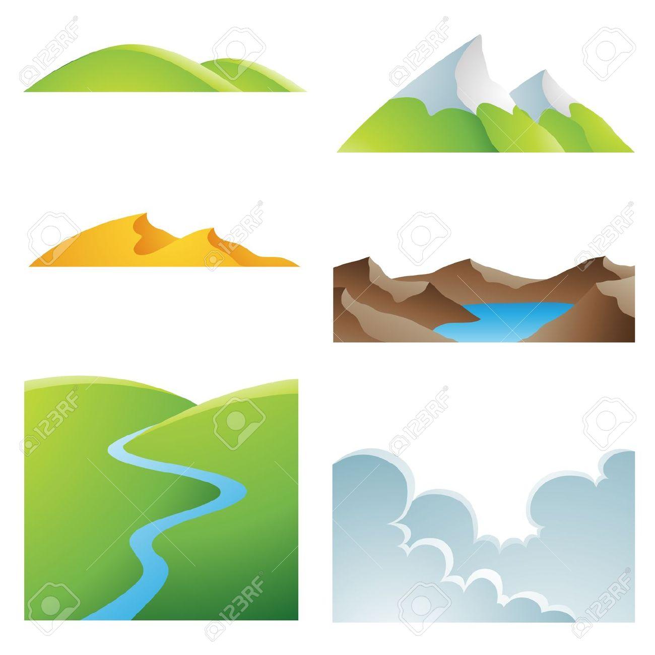 Desert Mountain Scenery Clip Art.