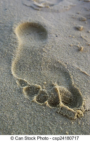 Stock Photography of Footprint. Footprint on river sand.
