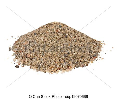 Pictures of Macro pile sand isolated on white backgrounds ( river.