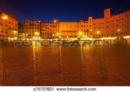 Stock Photography of Italy, Tuscany, Siena, Piazza del Campo at.