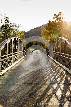Old Steel Bridge Near Siena, Italy Stock Photo.