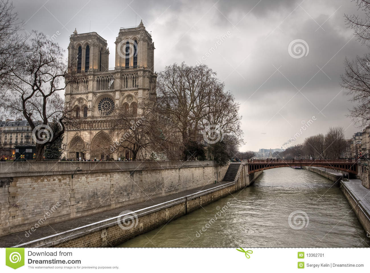 Notre Dame De Paris And Siena River Stock Image.