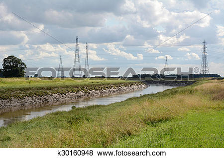Pictures of Overhead power lines span the River Nene in.