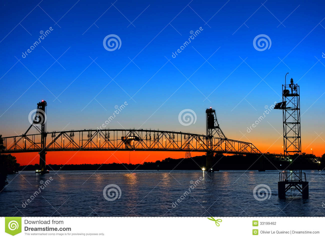 River Crossing Auto Transportation Bridge At Dusk Stock.