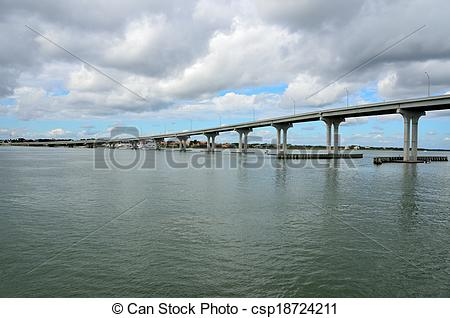Stock Photography of Bridge Span over the river.