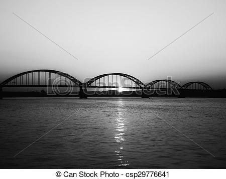 Stock Photo of Centennial Bridge (b&w).