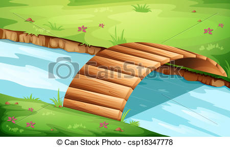 Vectors Illustration of A wooden bridge at the river.