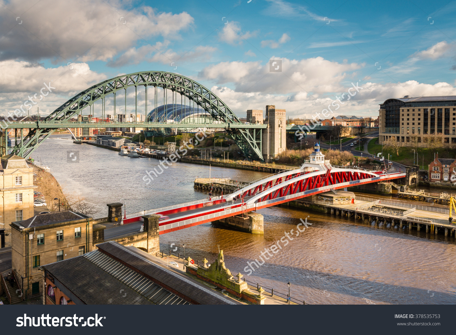 Tyne Swing Bridges Above Iconic Bridges Stock Photo 378535753.