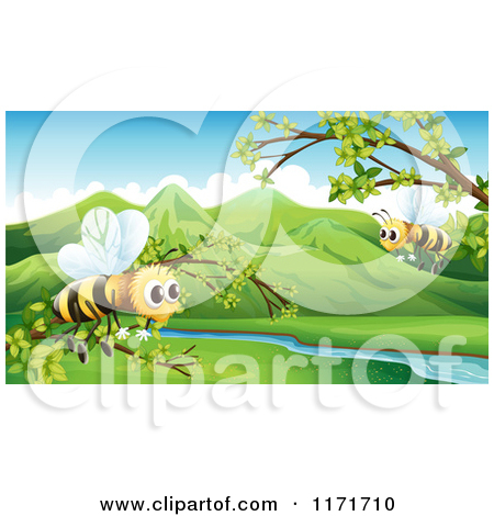 Cartoon of Bees Flying over a Green Valley and River.