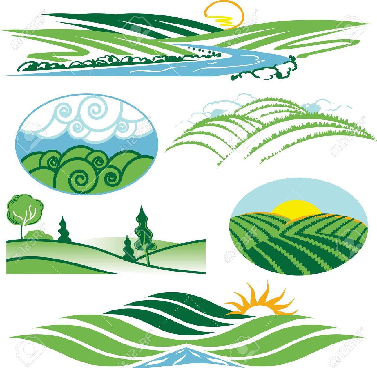 Rolling Green Hills Royalty Free Cliparts, Vectors, And Stock.