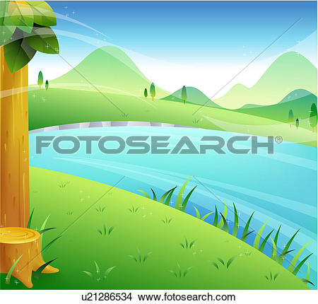 Drawings of scenic, nature, scenery, landscape, outdoors, river.