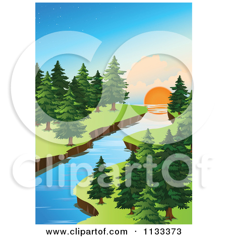 Forest River At Sunset Posters, Art Prints by colematt.
