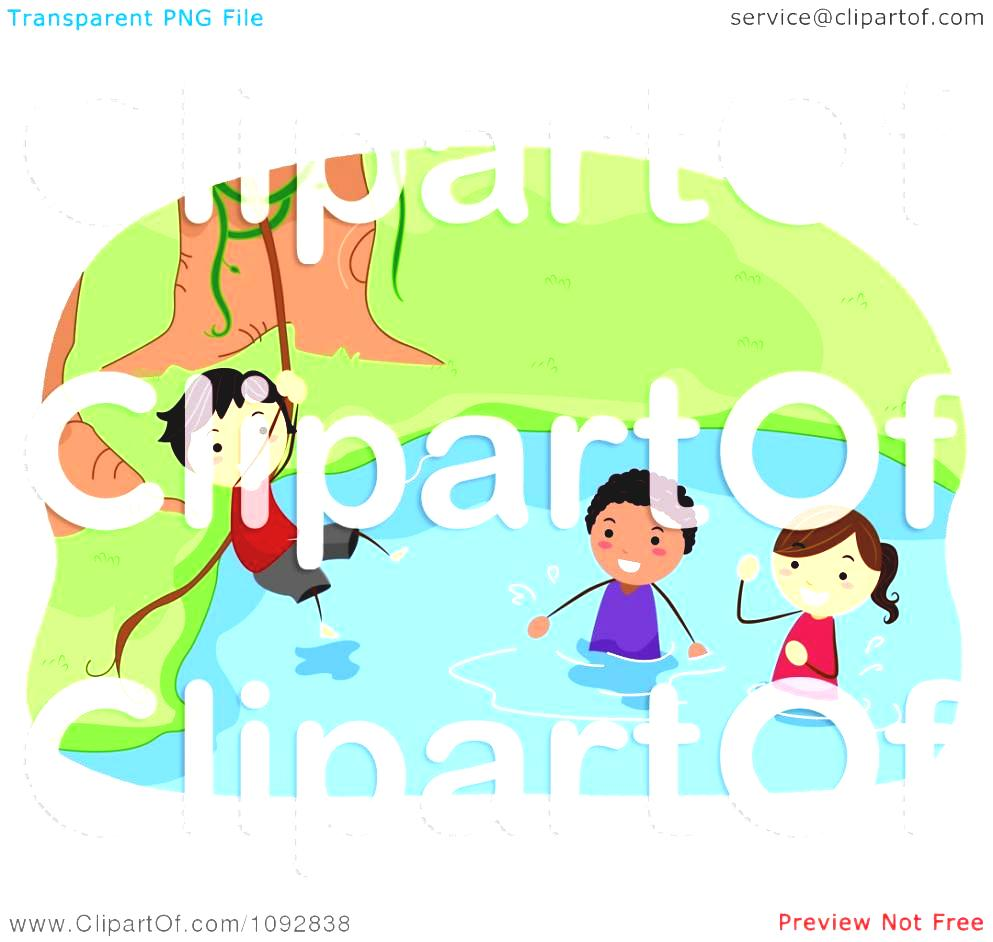 Kids Adventure Clipart Summer Camp Swinging On A Vine Over River.
