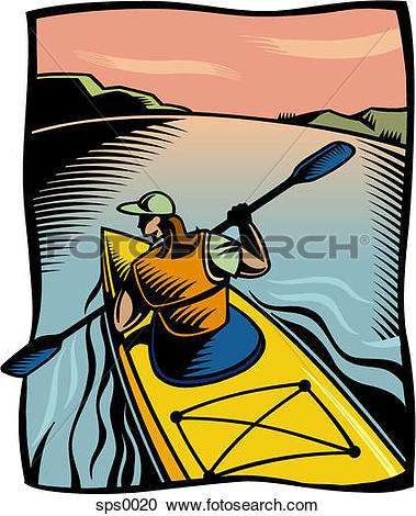 Stock Illustrations of A woman kayaking along a river sps0020.