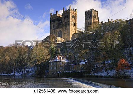 Pictures of England, County Durham, Durham. A weir below Durham.