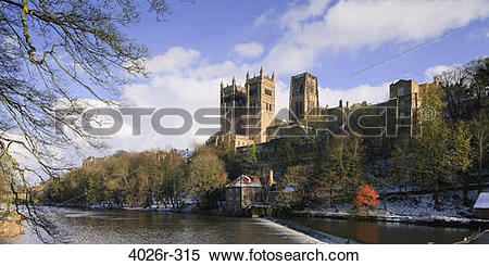 Stock Image of Clouds over a cathedral, Durham Cathedral, River.
