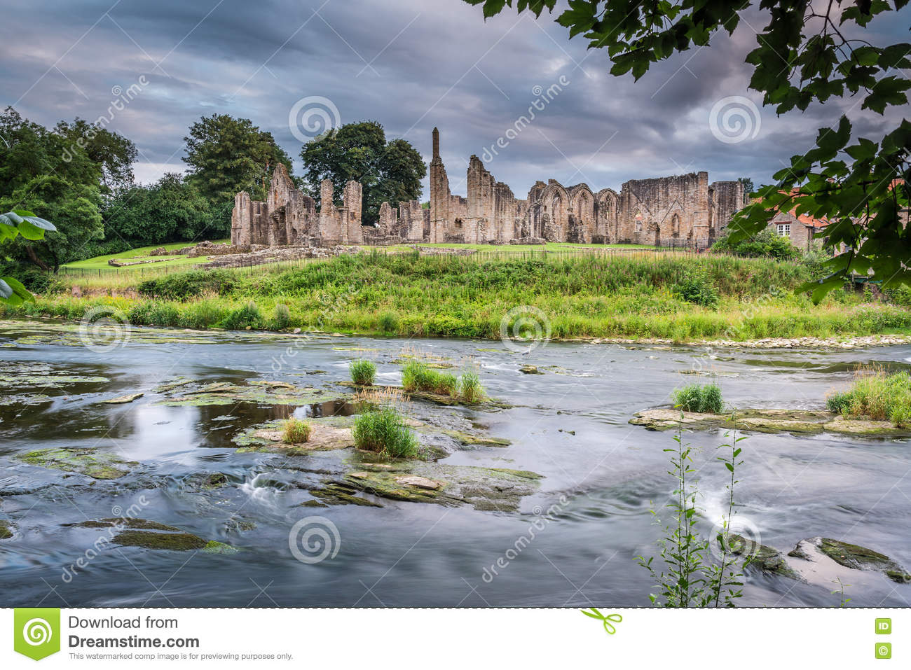 River Wear And Finchale Priory Stock Photo.