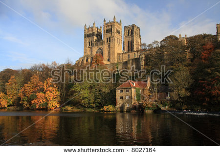 Autumn Reflections Of Durham Cathedral In The River Wear Stock.