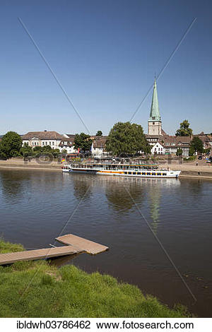 "Stock Photo of ""Townscape with Weser river shore and Luther Church."