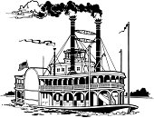 Riverboat Grouped Elements Vector Art.