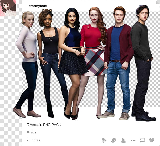Riverdale, standing men and women transparent background PNG.