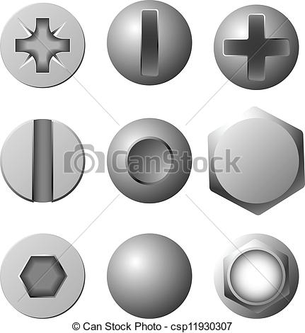 Vector Clipart of Vector set of screws, bolts and rivets isolated.