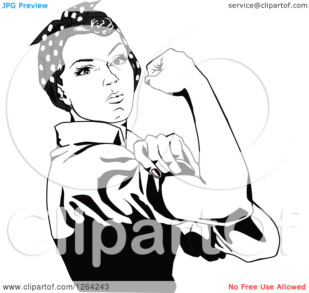 Clipart of a Black and White Rosie the Riveter Flexing and Facing.