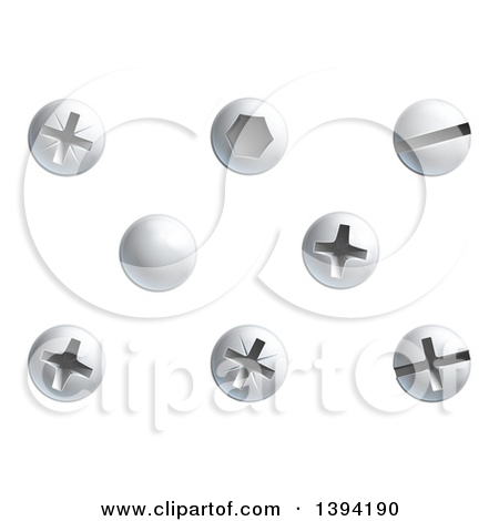 Clipart of Screws, Nuts, Bolts and Rivet Heads.