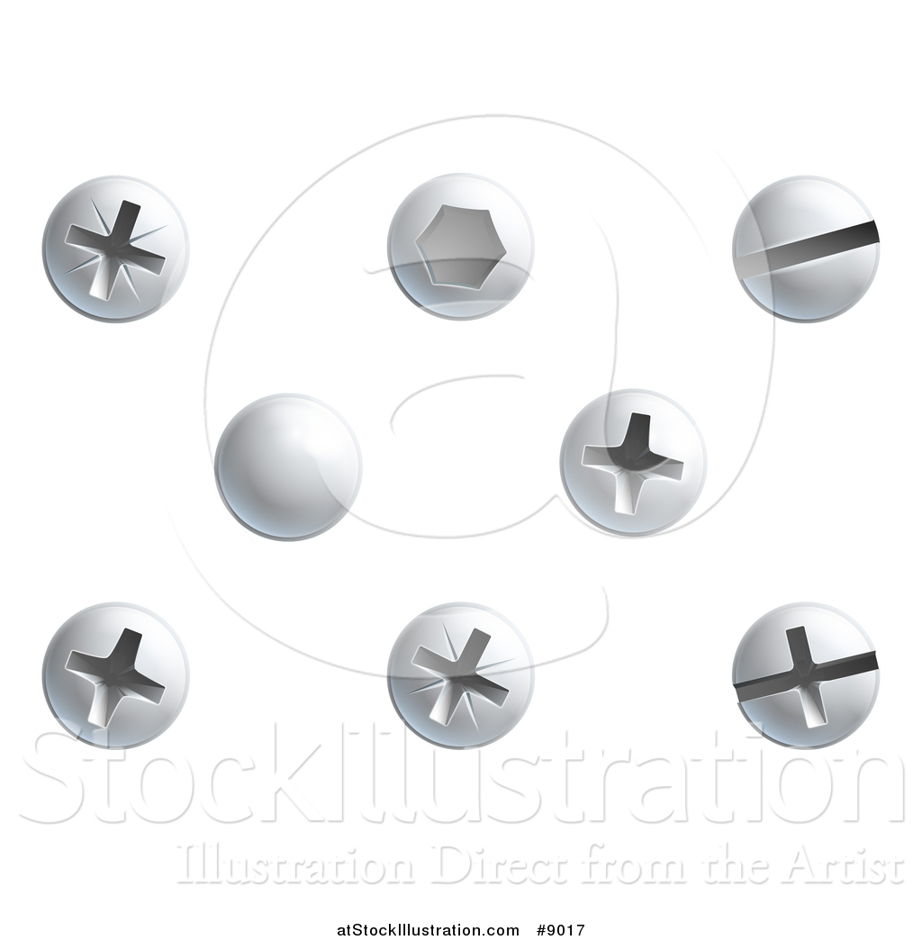 Vector Illustration of Screws, Nuts, Bolts and Rivet Heads by.