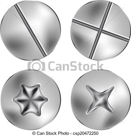 Clipart Vector of screw and thumbtack heads.