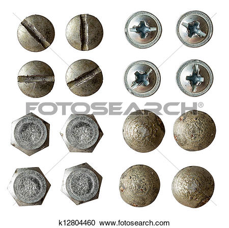 Stock Photography of screw, bolt, rivet head collection isolated.