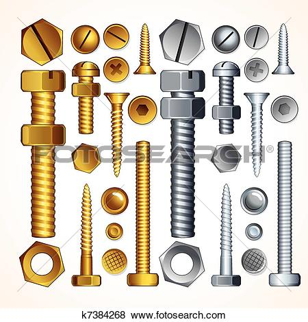 Clip Art of Screws, Bolts and Rivets k7384268.