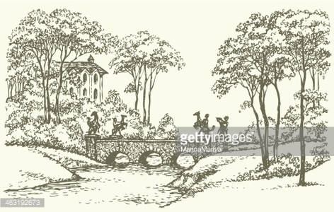 Vector Stone Bridge Over A Rivulet IN Palace Park premium clipart.