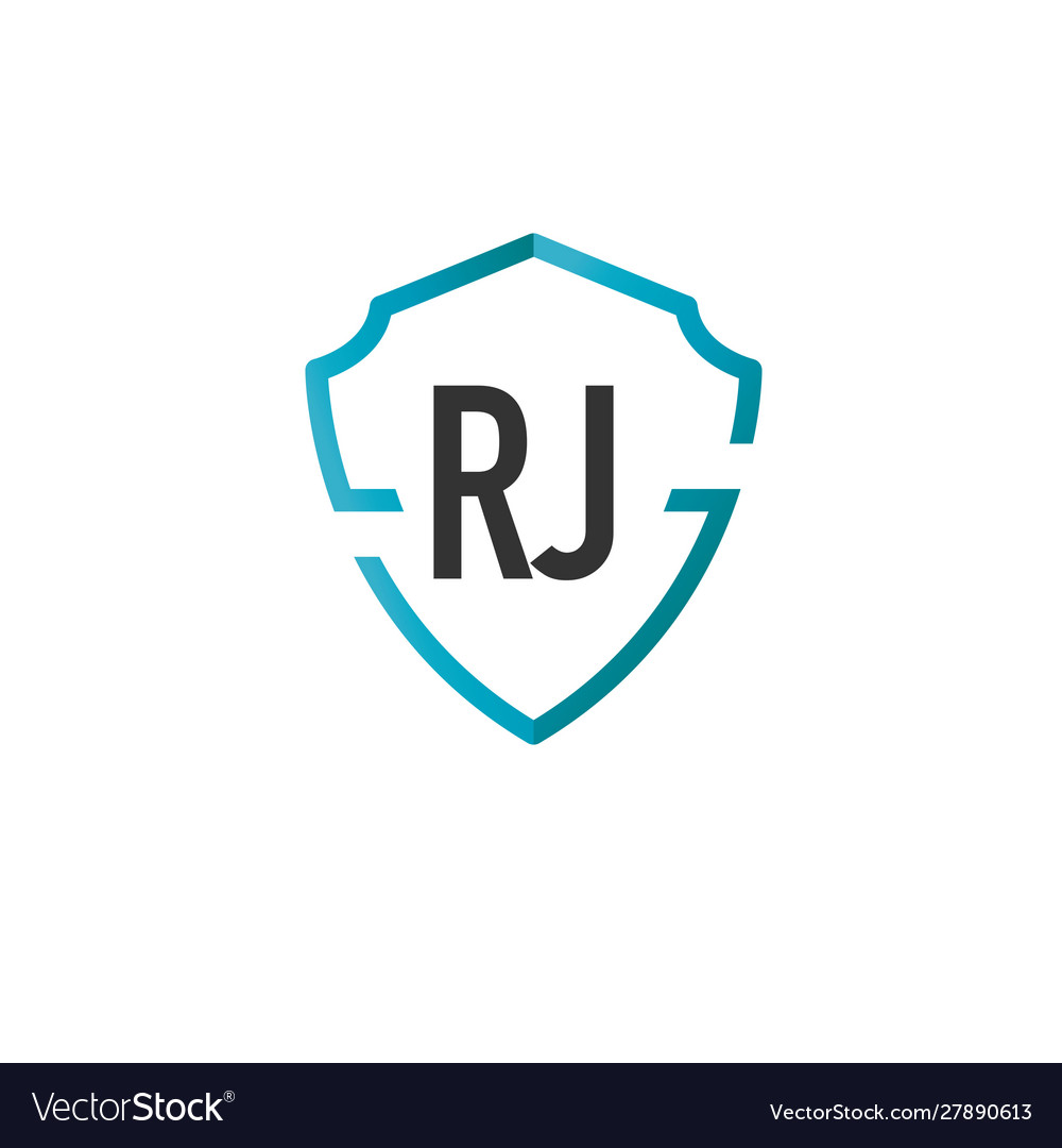 Initials letter rj creative shield design logo.
