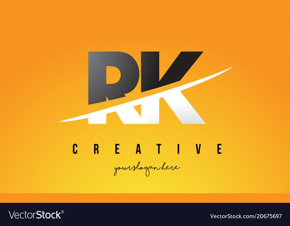 Rk r k letter modern logo design with yellow.