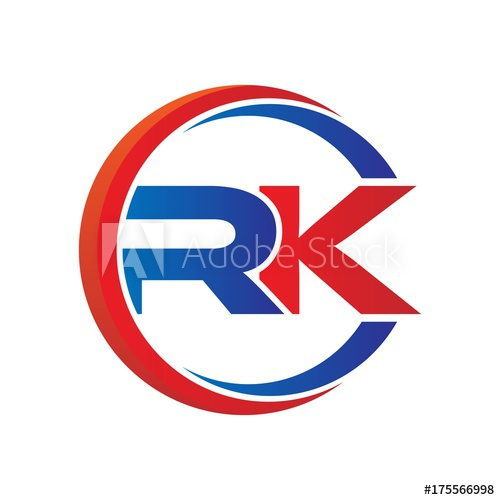 rk logo vector modern initial swoosh circle blue and red.