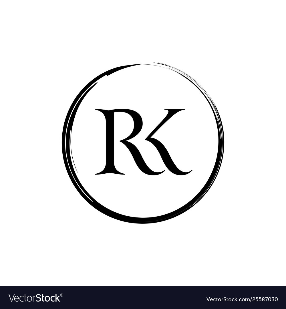 Initial and letter rk logo design.