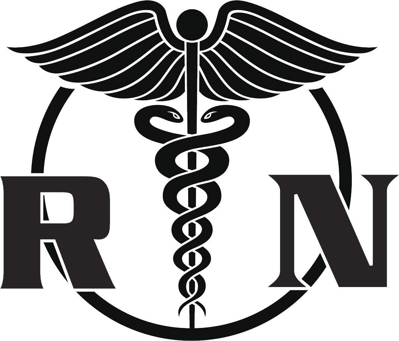 Simple Black and White Registered Nurse RN Caduceus Symbol Icon Vinyl  Sticker (2\