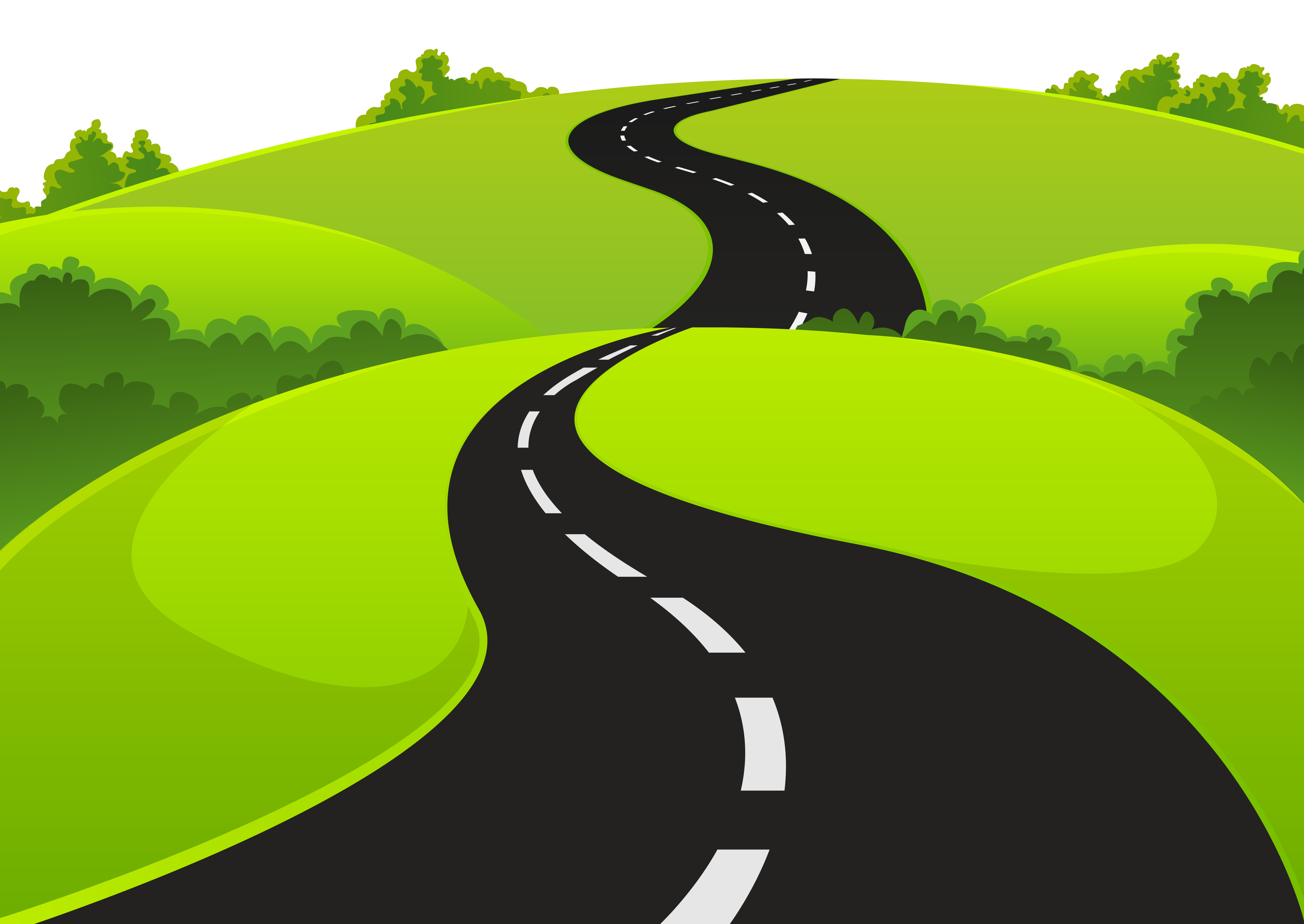 Road and Grass PNG Clipart Picture.