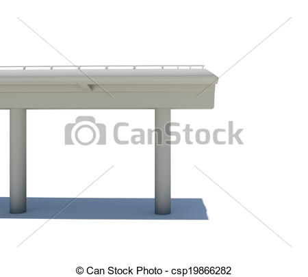 Stock Illustration of Part of the road bridge. Isolated on white.